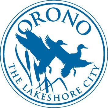 Orono logo shown in blue and white with the words Orono. The lakeshore City. Image of ducks flying from wetland