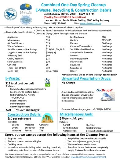 Orono Spring Cleanup Flyer