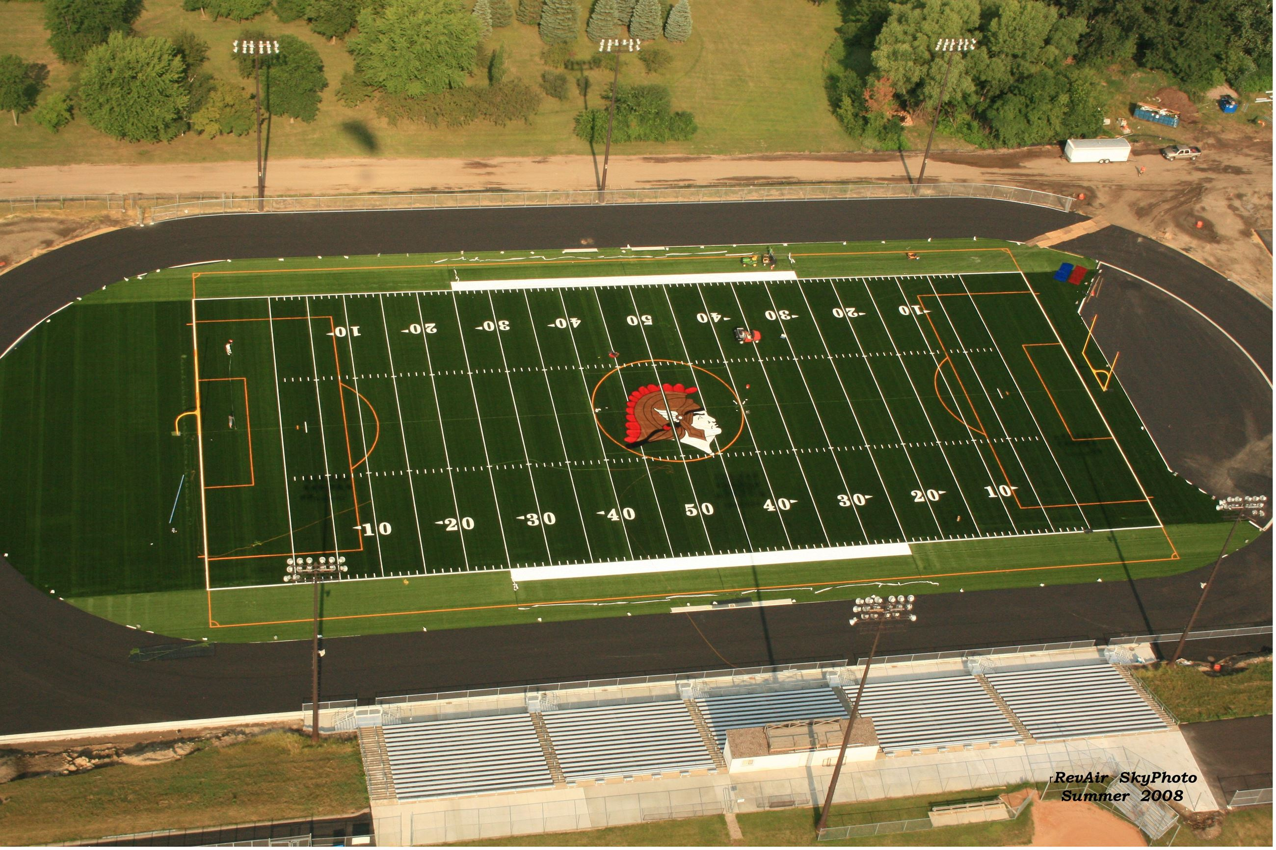An aerial photo of the Orono football field