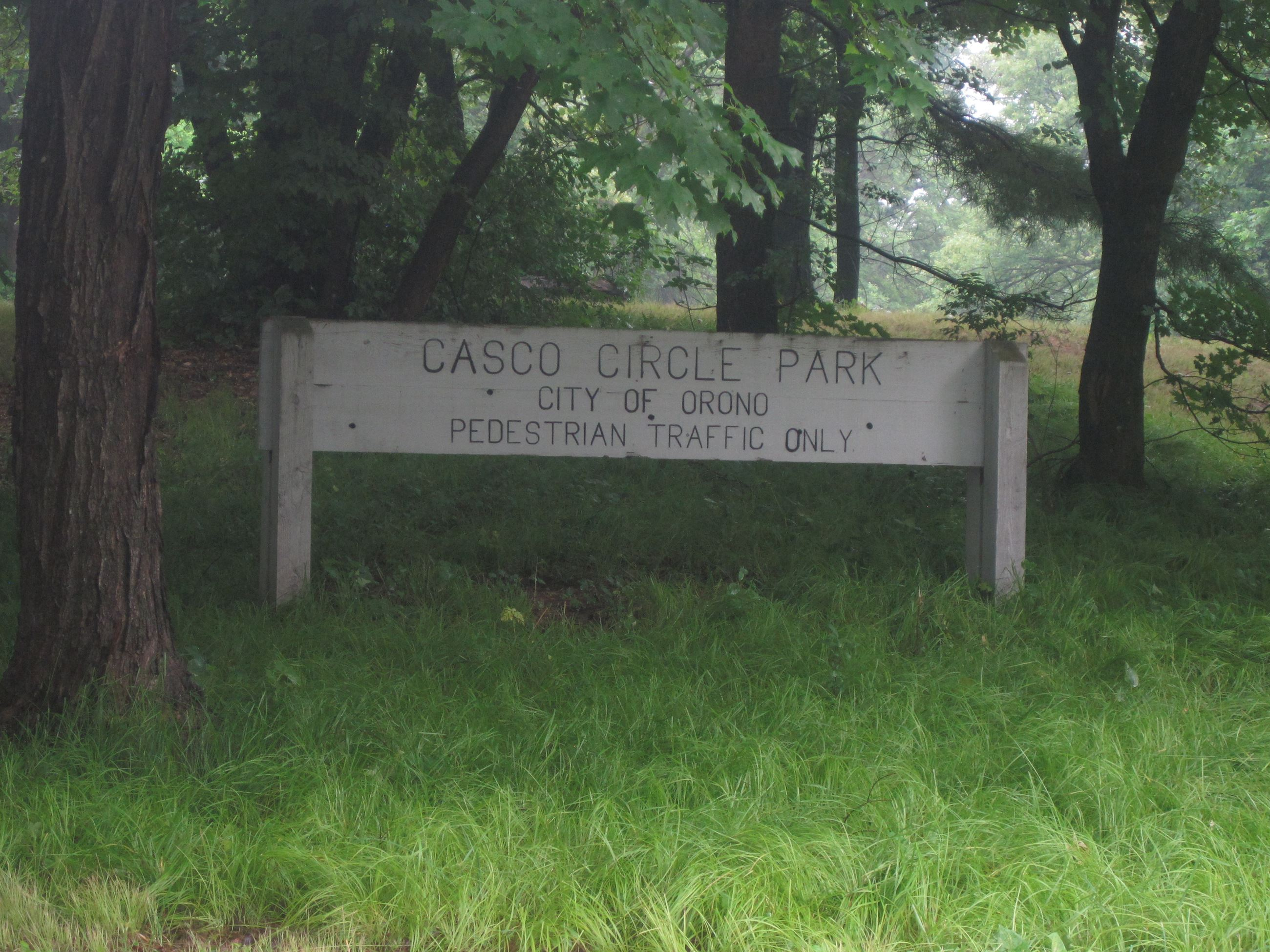 Casco Circle Park sign